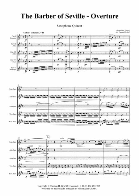 The Barber of Sevilla - Overture - Saxophone Quintet