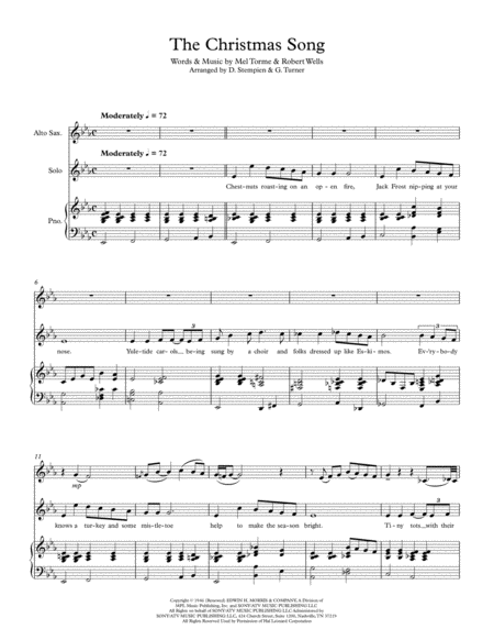 The Christmas Song (Chestnuts Roasting On An Open Fire) for Vocal Solo with Alto Sax and Piano Accompaniment