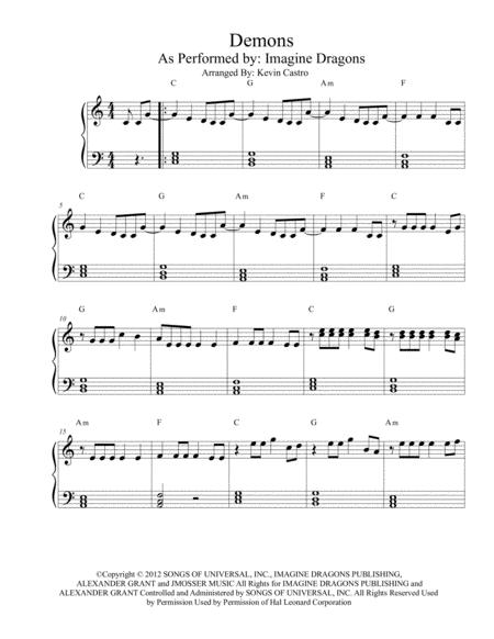 Demons Easy Piano (Key of C)