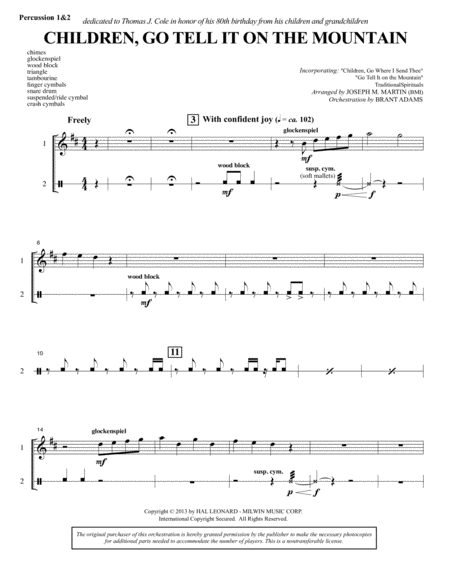 Children, Go Tell It on the Mountain - Percussion 1 & 2