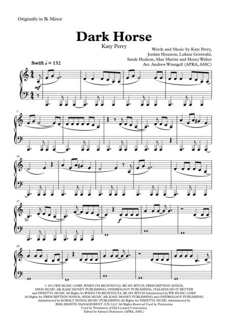 Dark Horse (Easy Piano - A Minor Version)