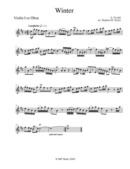 Winter by Vivaldi in D for Solo and string quartet