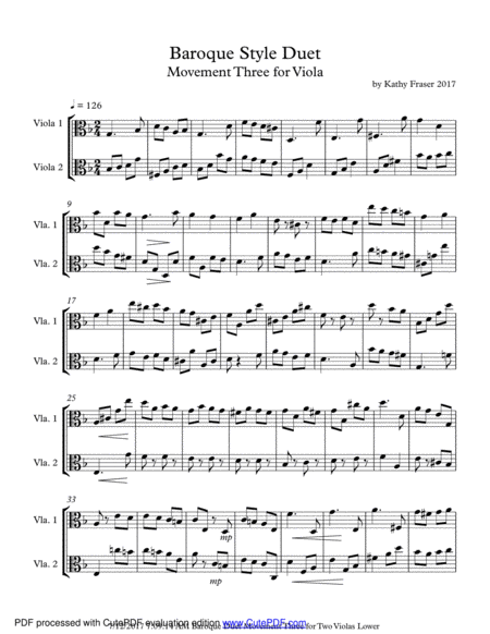 Baroque Style Duet for Viola - Movement Three