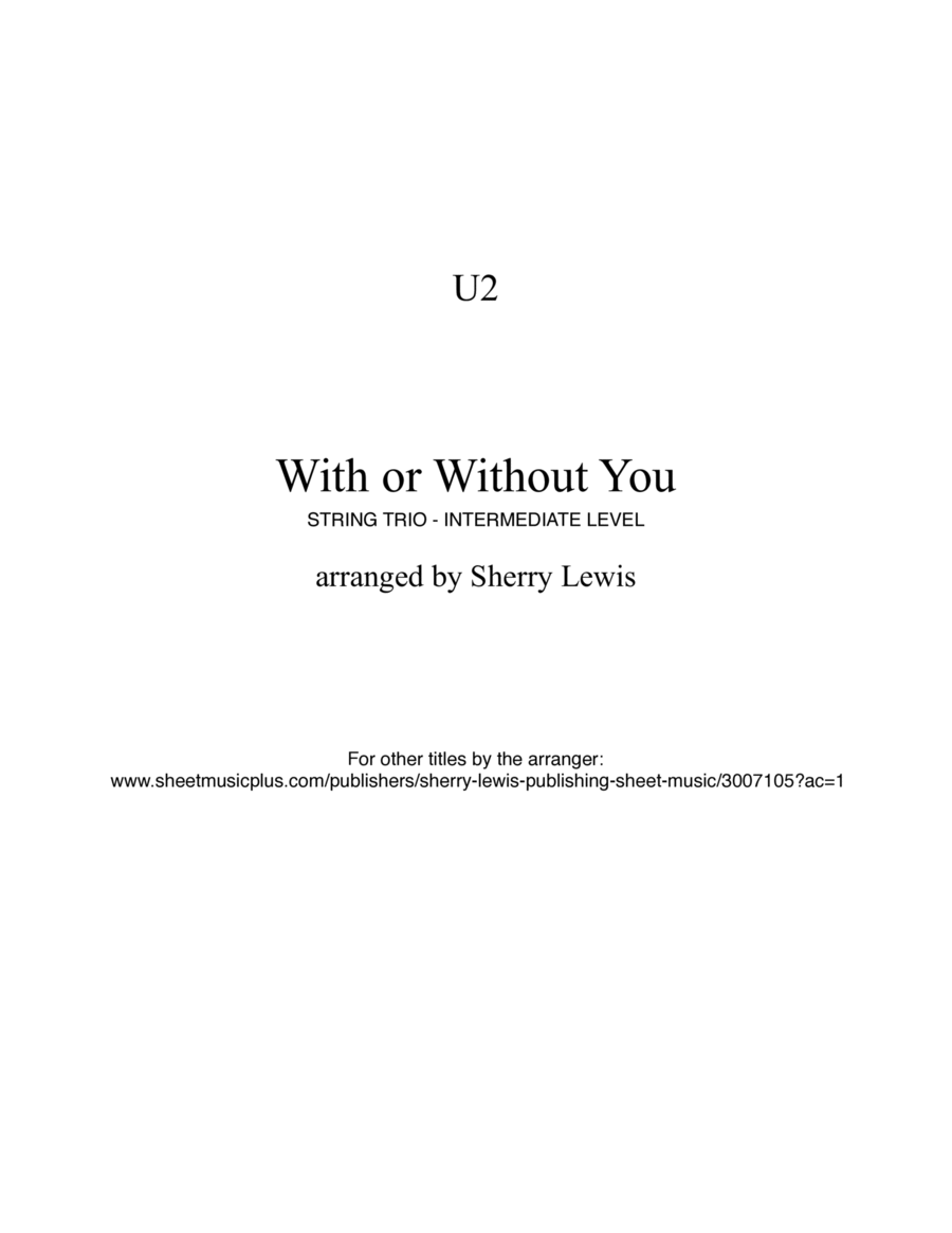 With Or Without You  STRING TRIO