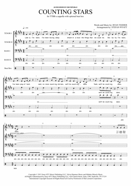 Counting Stars - TTBB a cappella