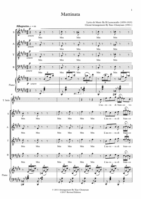 Mattinata, arranged for Tenor Solo & SATB Chorus