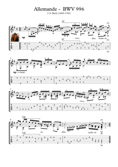 Bach for guitar BWV 996 Allemande
