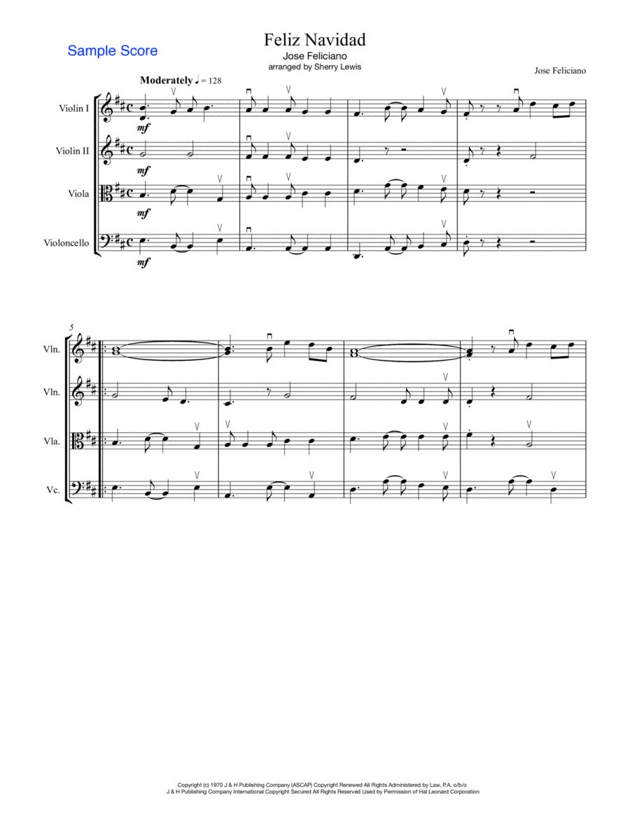 Feliz Navidad  String Quartet, String Trio, String Duo, Solo Violin, String Quartet + string bass chord chart, arranged by Sherry Lewis