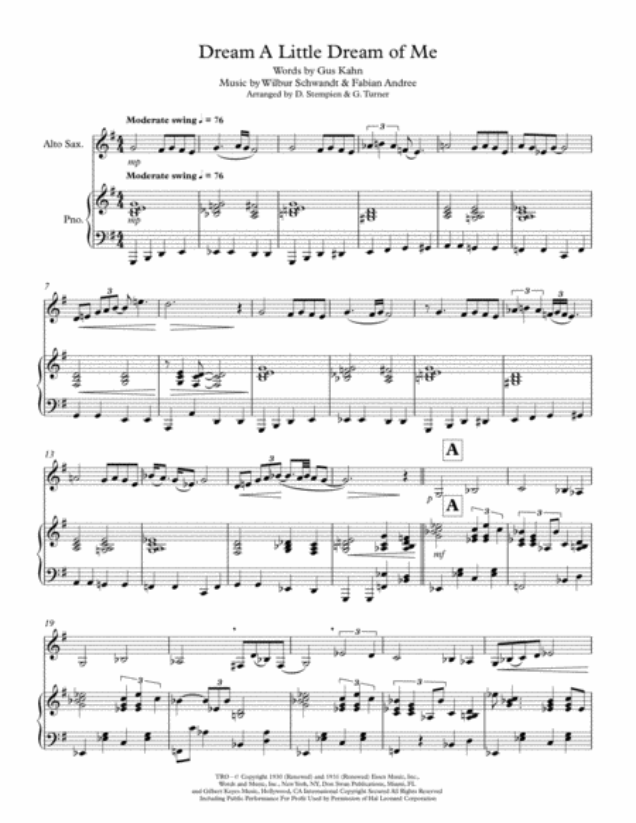 Dream A Little Dream Of Me for Alto Sax Solo with Piano Accompaniment (Ella Fitzgerald, Louis Armstrong)