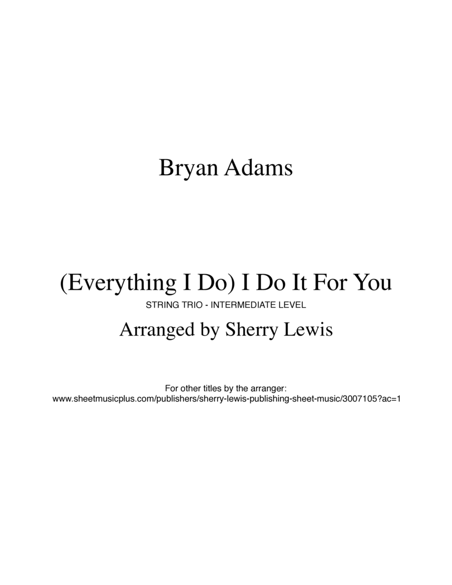 (Everything I Do) I Do It For You  STRING TRIO