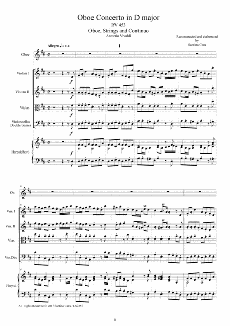 Vivaldi - Oboe Concerto in D major RV 453 for Oboe, Strings and Continuo - Score and Parts