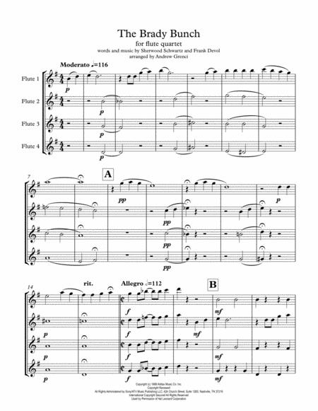 The Brady Bunch  Theme Flute Quartet