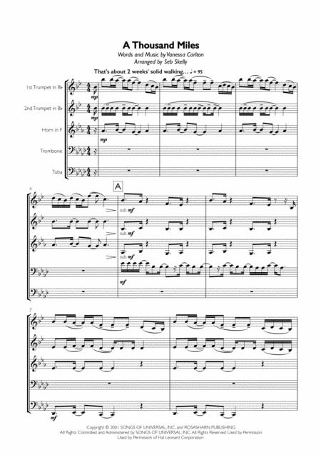 Vanessa Carlton - A Thousand Miles for Brass Quintet