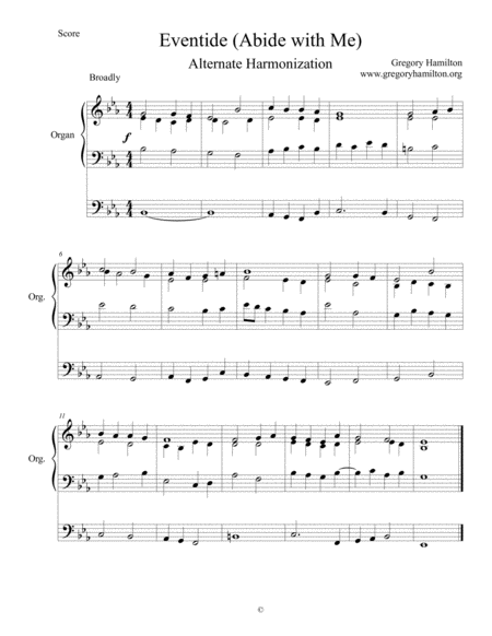 Abide with Me - Eventide Alternate Harmonization for Organ