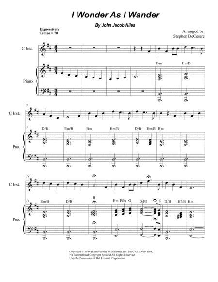 I Wonder As I Wander (for Solo Treble C-Instrument)