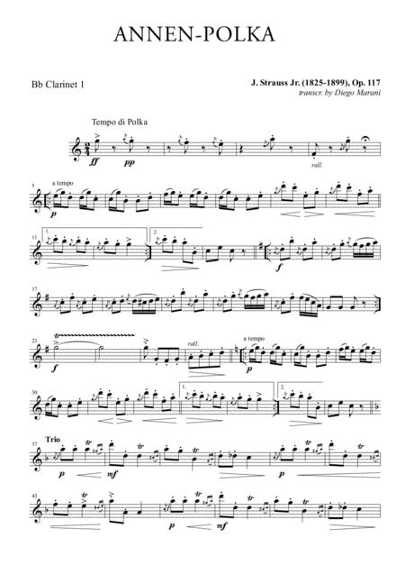 Annen-Polka for Clarinet Quartet
