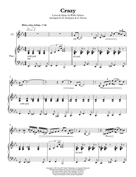 Crazy (Willie Nelson, Patsy Cline) for Clarinet or Soprano Sax Solo with Piano Accompaniment