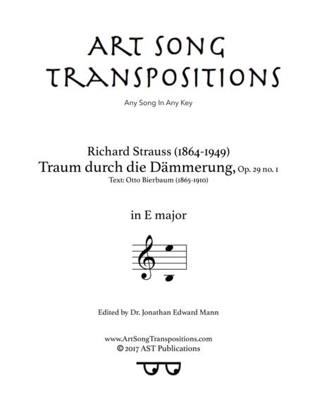 Traum durch die Dämmerung, Op. 29 no. 1 (E major)