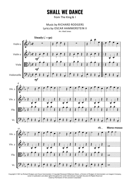 Shall We Dance? for String Quartet