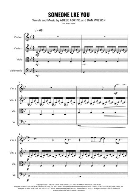 Someone Like You for String Quartet
