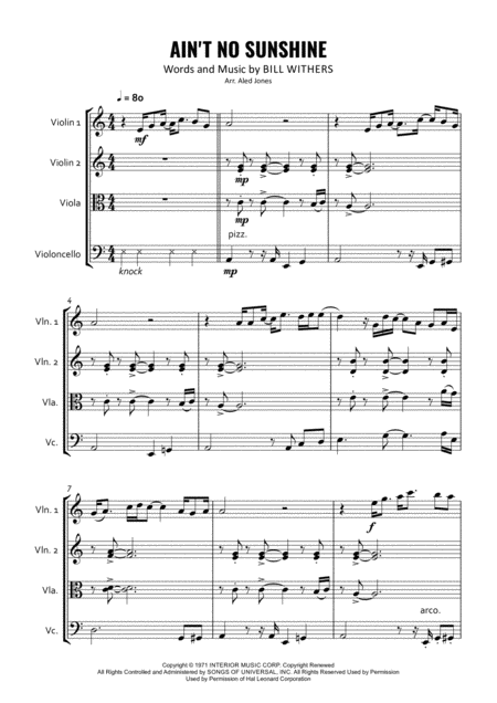 Ain't No Sunshine for String Quartet