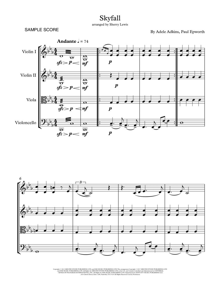 Skyfall  String Quartet, String Trio, String Duo, Solo Violin, String Quartet + string bass chord chart, arranged by Sherry Lewis