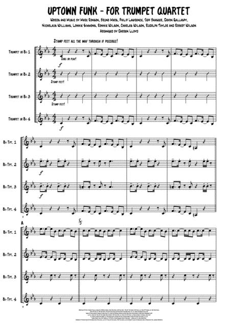 Uptown Funk for Trumpet quartet