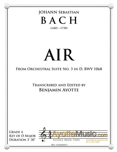 Air from Orchestral Suite No. 3, BWV 1068 - Score and Parts