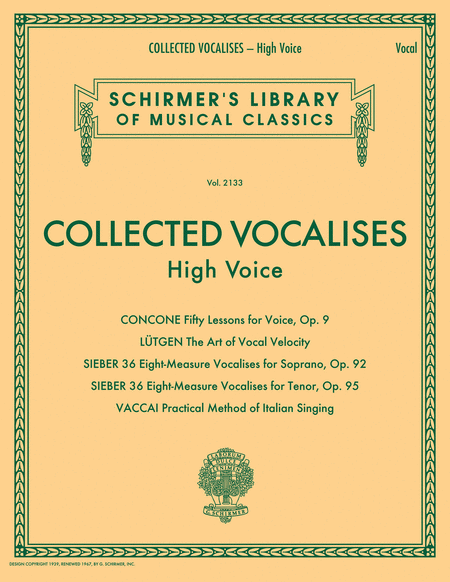 Collected Vocalises: High Voice - Concone, Lutgen, Sieber, Vaccai