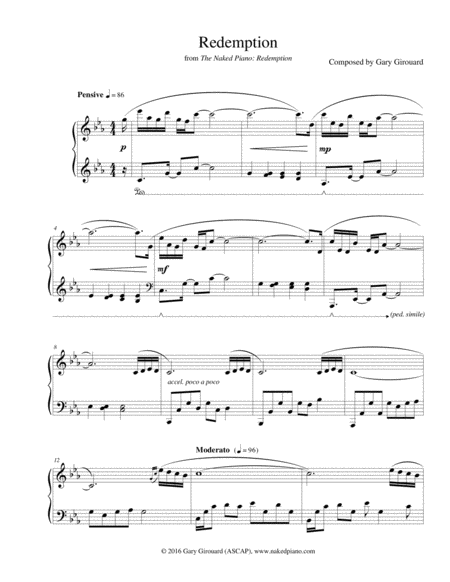 """""""Redemption"""" Solo Piano Sheet Music"""