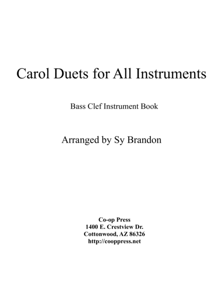 Carol Duets for all Instruments Bass Clef Book