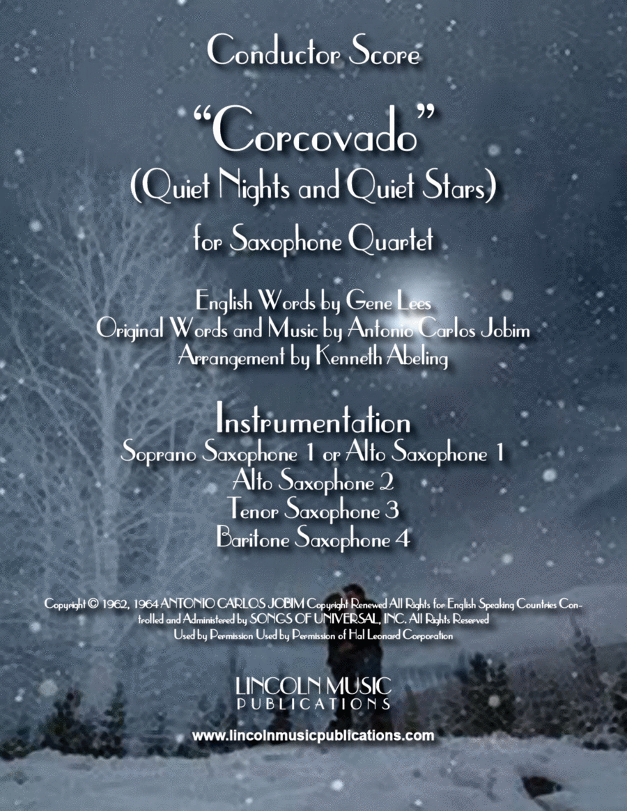 Quiet Nights and Quiet Stars (Corcovado) (for Saxophone Quartet SATB or AATB)