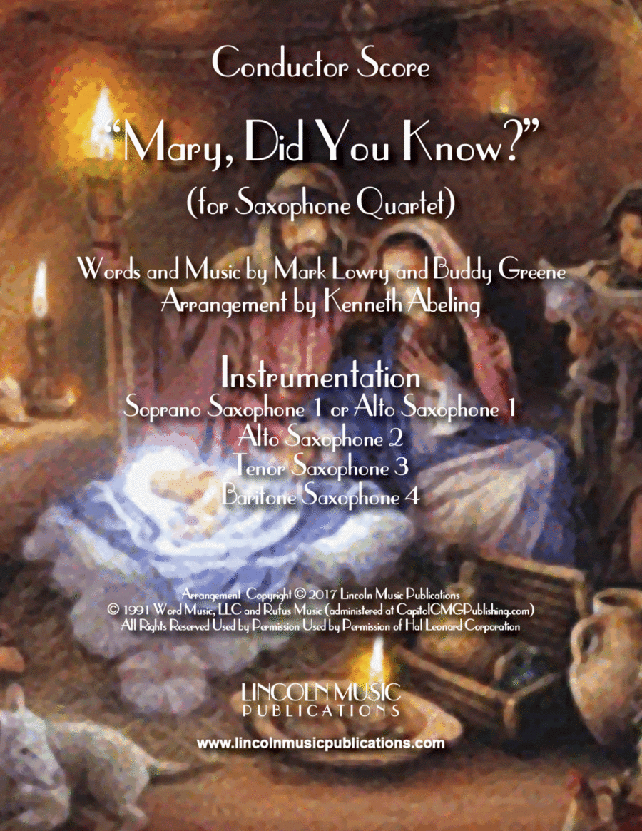 Mary, Did You Know? (for Saxophone Quartet SATB or AATB)