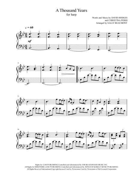 A Thousand Years - Arranged for Harp