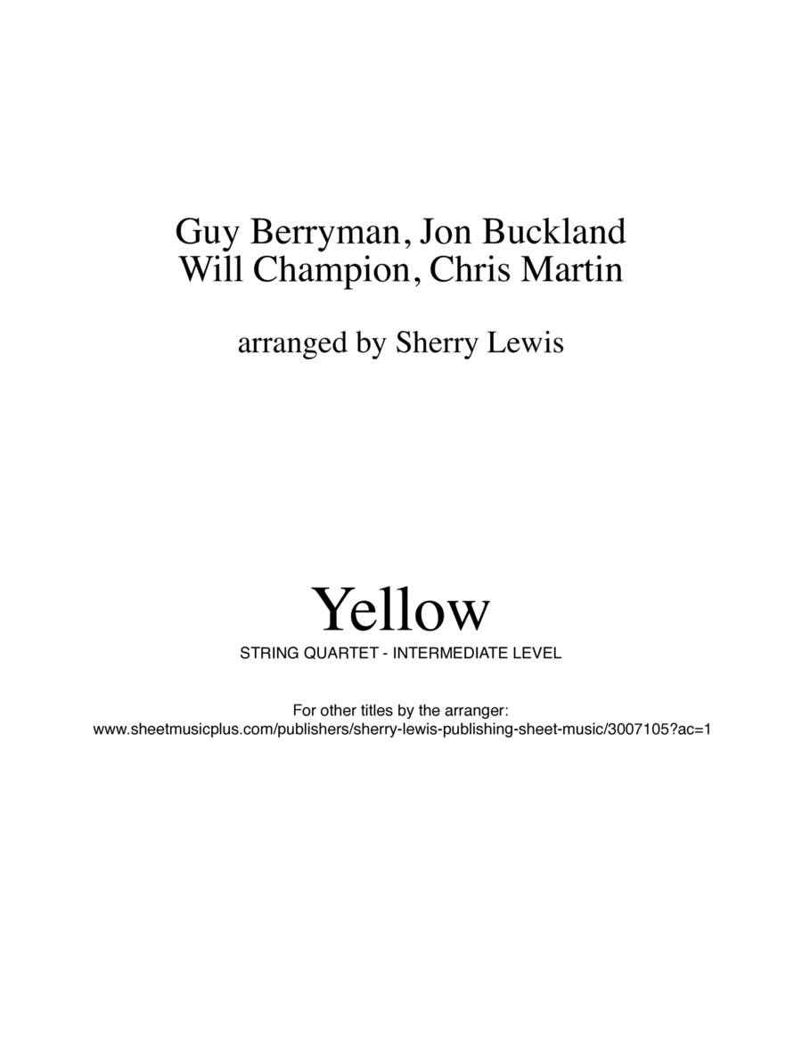 Yellow  String Quartet, String Trio, String Duo, Solo Violin, String Quartet + string bass chord chart, arranged by Sherry Lewis
