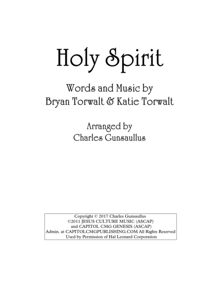 Holy Spirit - Francesca Battistelli - String Quartet