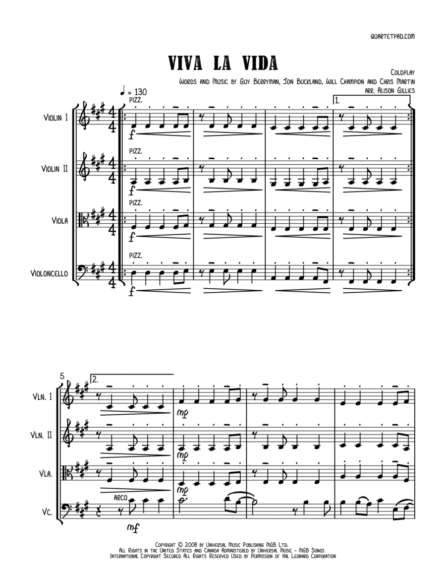 Viva La Vida - String Quartet