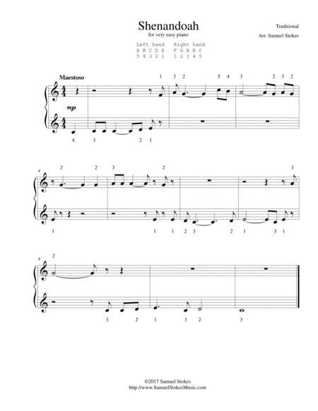 Shenandoah - for very easy piano