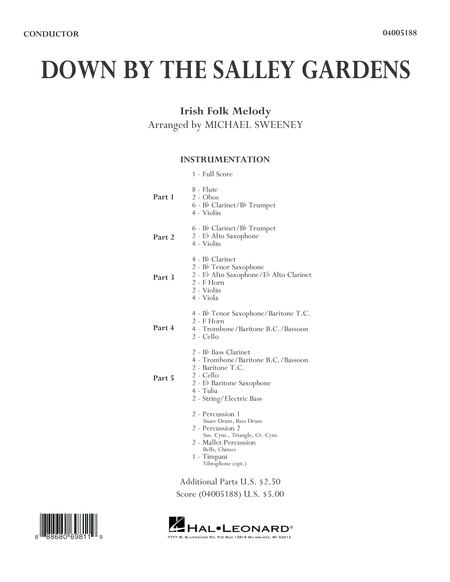 Down by the Salley Gardens - Conductor Score (Full Score)