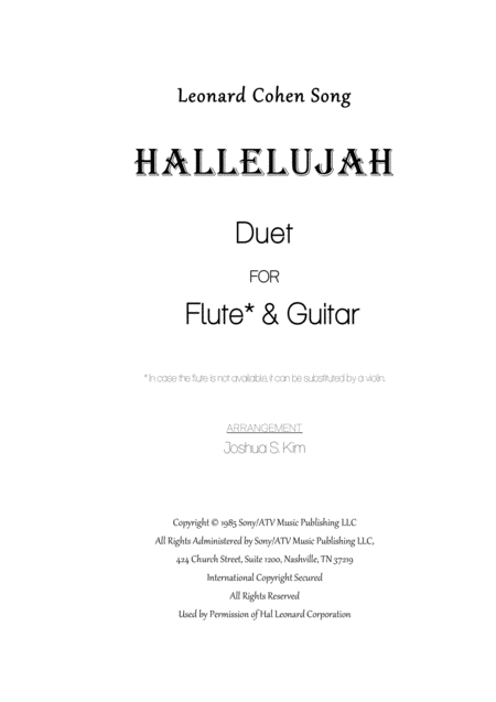 Hallelujah (from Shrek) for Flute & Guitar Duet
