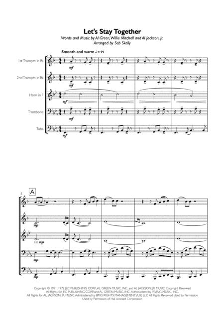 Al Green - Let's Stay Together for Brass Quintet