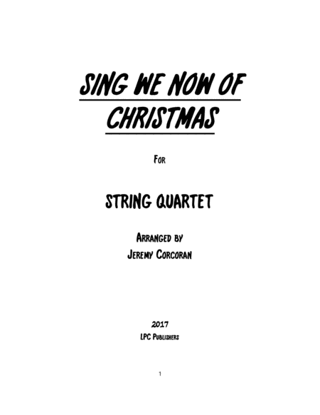 Sing We Now of Christmas for String Quartet