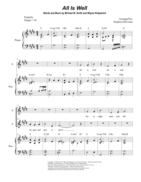 All Is Well (Duet for Soprano and Alto Solo)