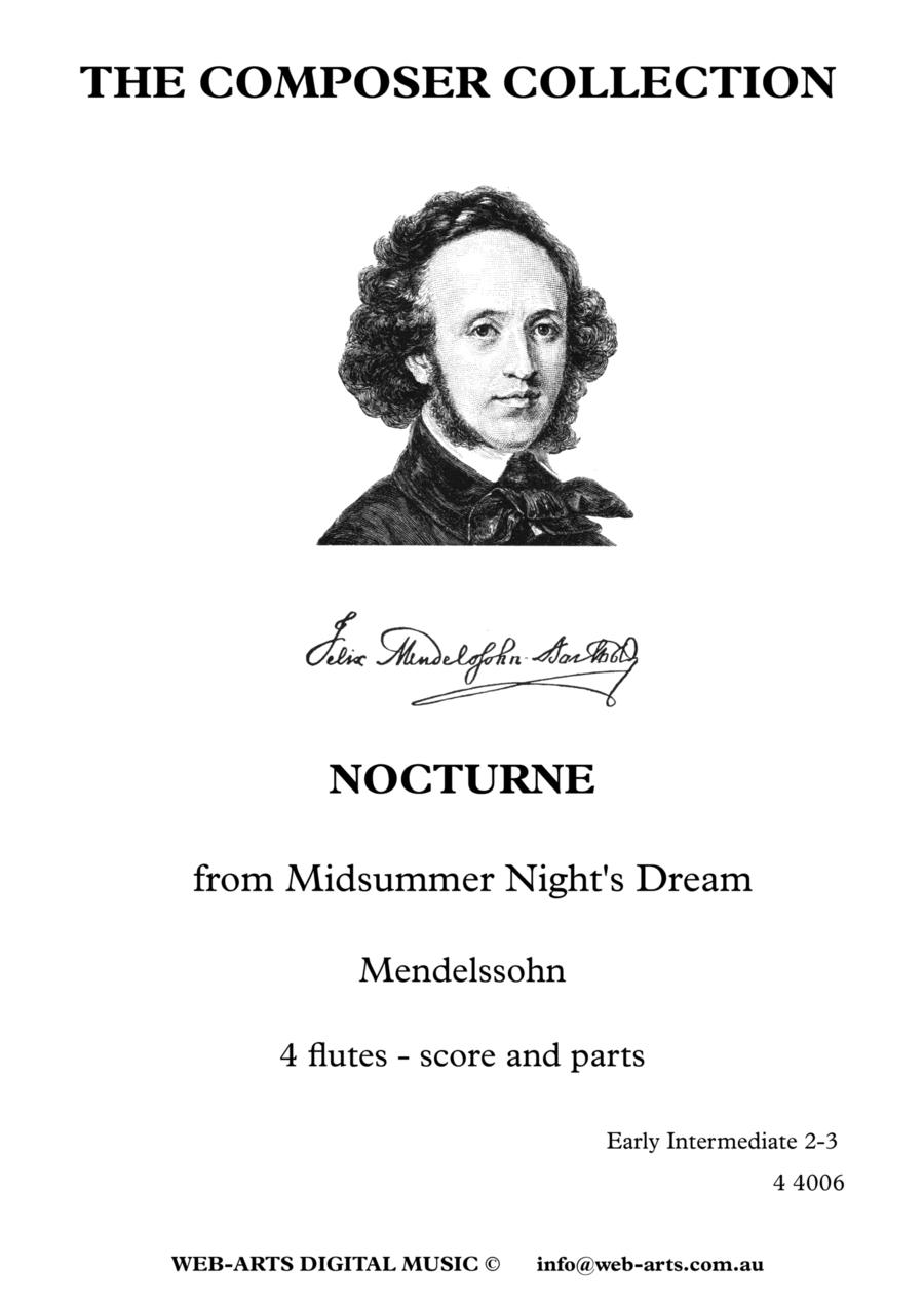 MENDELSOHN NOCTURNE from Midsummer Night's Dream arranged for 4 flutes
