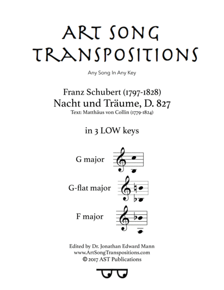 Nacht und Träume, D. 827 (in 3 low keys: G, G-flat, F major)