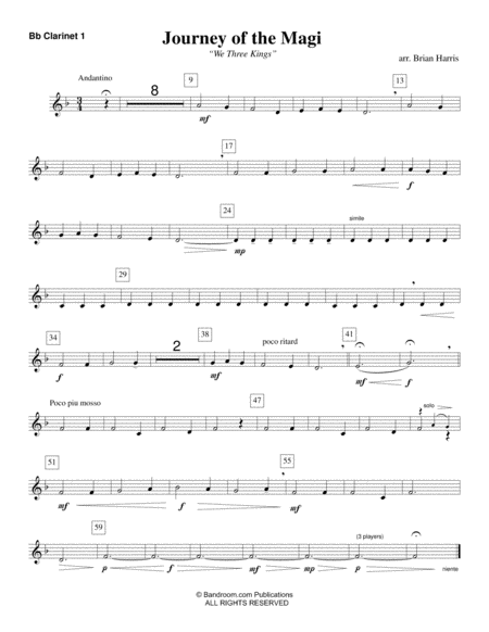 JOURNEY OF THE MAGI (young concert band, medium easy - score, parts & license to copy, winter concert)