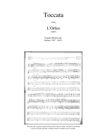 TOCCATA from L'ORFEO (1607 opera) brass ensemble with optional percussion - score, parts - medium