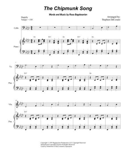 The Chipmunk Song (Duet for Violin and Cello)
