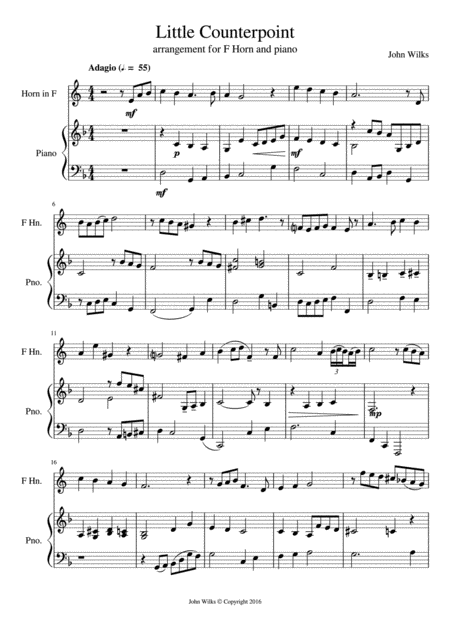 Little Counterpoint arranged for F Horn and Piano