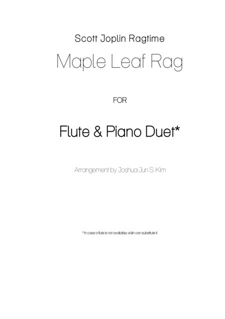 Maple Leaf Rag for flute & piano duet